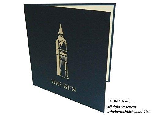 LIN Pop Up Carte de v/œux 3D en tant que carte cadeau pour un voyage /à Londres fait /à la main le Big Ben dans la tour Elisabeth 15,2 x 15,2 cm #184
