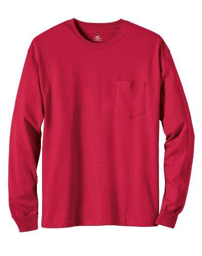 Hanes 6.1 oz. Tagless� ComfortSoft� Long-Sleeve Pocket T-Shirt - SAFETY ORANGE - M