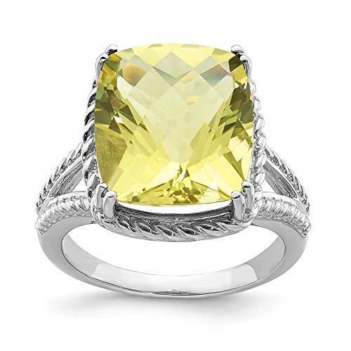 - FB Jewels Solid Sterling Silver Rhodium Checker-Cut Lemon Quartz Ring Size 7