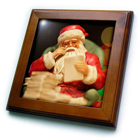 3dRose Stamp City - Holiday - Photograph of a Ceramic Santa Sitting in his Chair, Checking his List. - 8x8 Framed Tile (ft_304376_1) - Santa Framed Tile