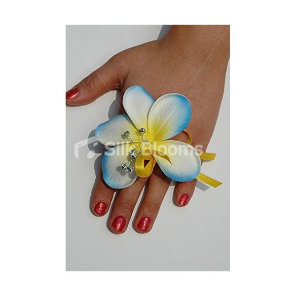 Artificial Aqua White Frangipani Plumeria Finger Ring Corsage