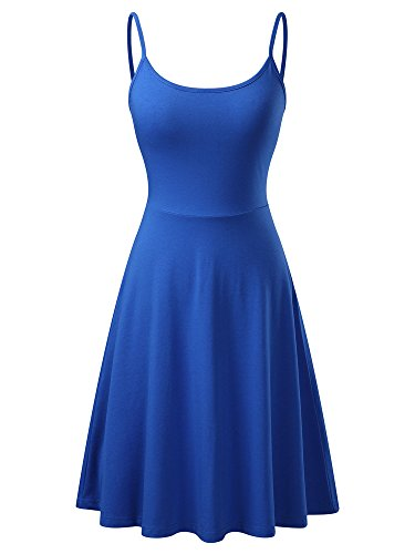 VETIOR Women's Sleeveless Adjustable Strappy Flared Midi Skater Dress Small Blue