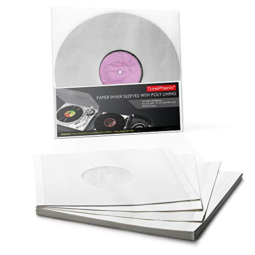 """TunePhonik Paper Inner Sleeves w/Poly Lining to Protect 12"""" LP Vinyl Records, 50 Count"""
