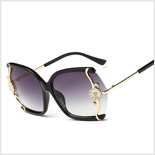 conducen Gafas la la C B Gafas Diamante gradientes de de Marea de de Manera X565 incrustados vidrios los Color Señoras la Grandes sol Caja de Vidrios sol Gafas rqUrP