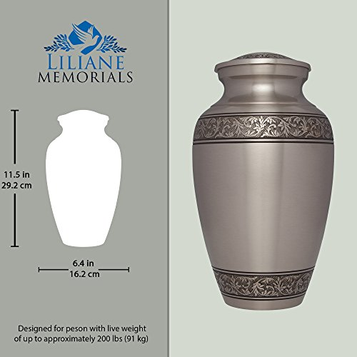 Silver Funeral Urn by Liliane Memorials - Cremation Urn for Human Ashes - Hand Made in Brass -Suitable for Cemetery Burial or Niche - Large Size fits remains of Adults up to 200 lbs- Treviso Silver L by Liliane Memorials (Image #3)