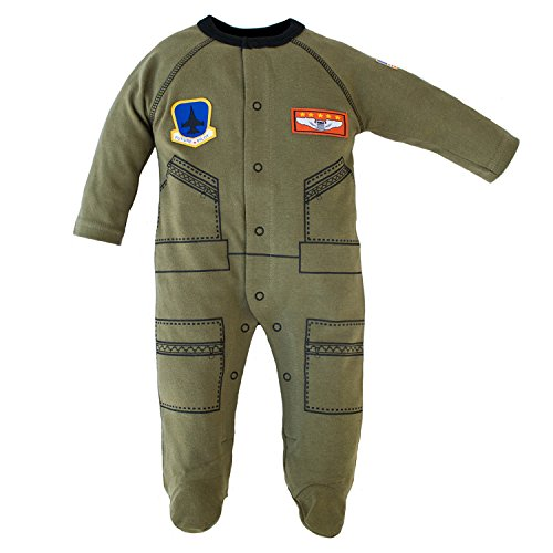 Trendy Apparel Shop Flight Body Suit Future Pilot USA Flag Infant Crawler - Olive - 6-9 Months