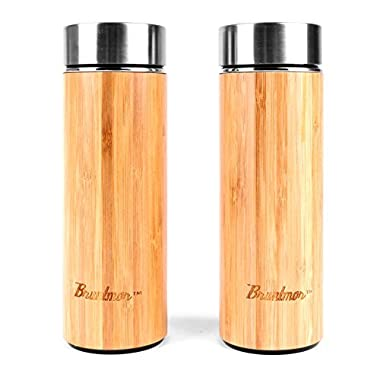 Bruntmor, Natural Bamboo Double Wall Vacuum Insulated 12 oz Tumbler 18/10 steel Infuser Set Of 2