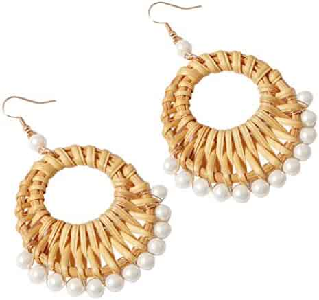 01fff23a4 kolo FINE Rattan Earrings Braided Geometric Bow Conch Freshwater Fashion  Simple Metal Diamond Flower Shape Moon