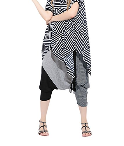 Baymate Mujeres Moda Patchwork Harem Pantalones Cortos Hiphop Baggy Pantalón Tallas Grandes Negro