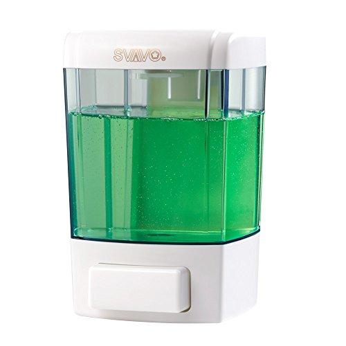 SVAVO V-7101 ABS Plastic Wall Mounted Liquid Soap Dispenser White,Chrome 700ml Pack of 1 ()