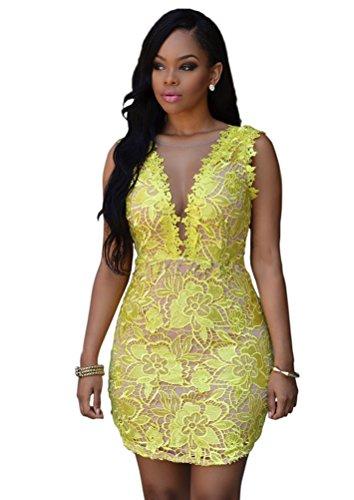 Women Sexy V Neck Sleeveless Lace Crochet Sheer Mesh Backless Clubwear Mini Dress Yellow XL