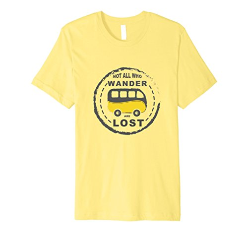 Mens Campervan T Shirt Not All Who Wander Are Lost Small Lemon
