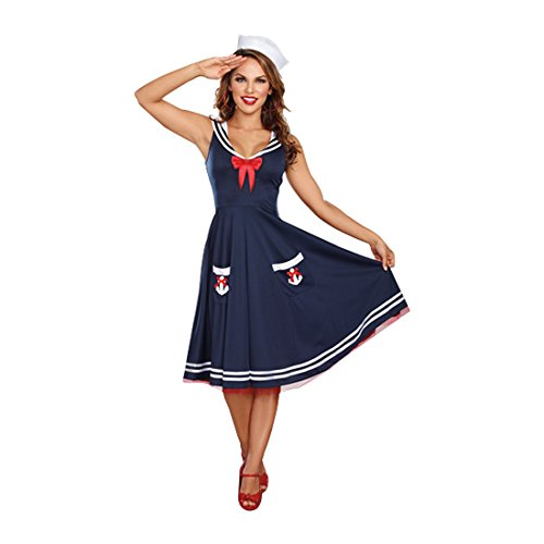 Pinup Girl Halloween Costume (Dreamgirl Women's All Aboard Costume, Blue/White,)