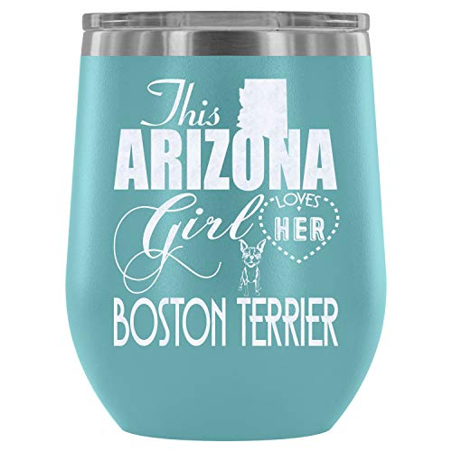 Stainless Steel Tumbler Cup with Lids for Wine, Boston Terrier Wine Tumbler, Cute Boston Terrier Vacuum Insulated Wine Tumbler (Wine Tumbler 12Oz - Light Blue)