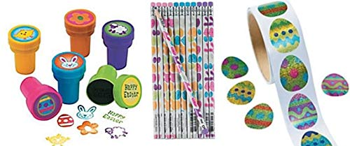 HAPPY DEALS ~ Easter Party Pack- - 24 Easter Pencils + 24 Easter STAMPERS + 100 Prismatic Easter Stickers