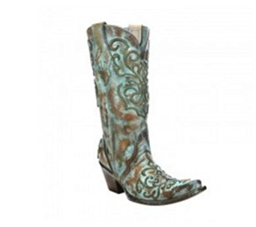Corral Women's Cord Stitch Cowgirl Boot - Tan/Turquoise - TAN/TURQUOISE - 8 - M ()