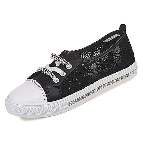 ZHZNVX Zapatos de Mujer PU (Poliuretano) Fall Comfort Sneakers Flat Heel Blanco/Negro Black