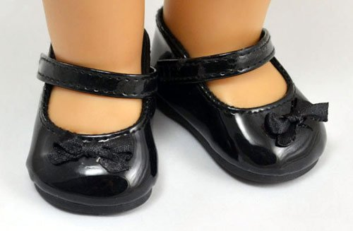 Doll Shoes Black Leatheroid Mary Jane Fit 18 inch American Girl dolls by sweet dolly Dolls Black Mary Jane Shoes