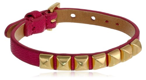 Juicy Couture Cashmere Rose Skinny Leather Pyramid Bracelet, 8.67""