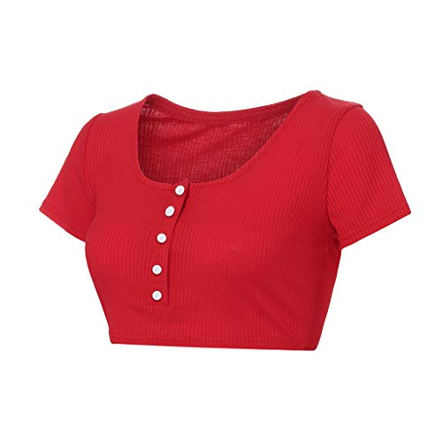 Aunimeifly Women's Solid Color Short Tops Button Front Crop T-Shirt Short-Sleeved Slim Belly Shirt Ribbed Tank Red