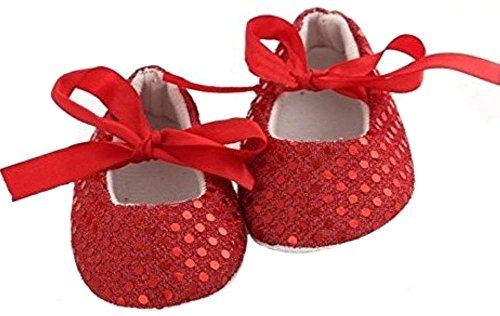 Rivchell Baby Girl Red Sparkling Christmas Shoes Crib New Born Size Shoes Soft Ballerina Princess Style 10 (0-3 Months)) - New Styles Shoes