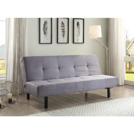 True Innovations 3 Position Fabric Futon, Gray l Use as a Sofa, Lounger or Comfortable Sleeper