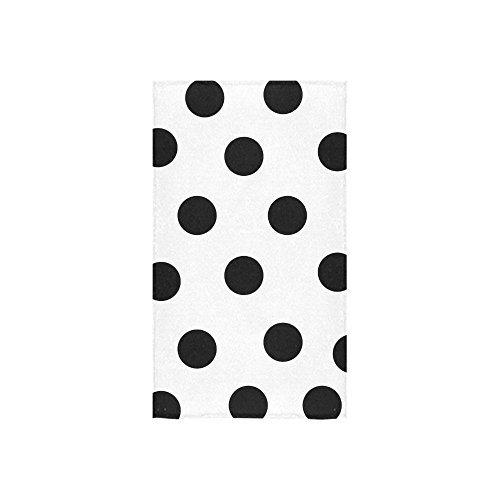 (InterestPrint White and Black Polka Dot Hand Towel Bath Towels For Home, Outdoor and Travel Use,Ideal Size 16