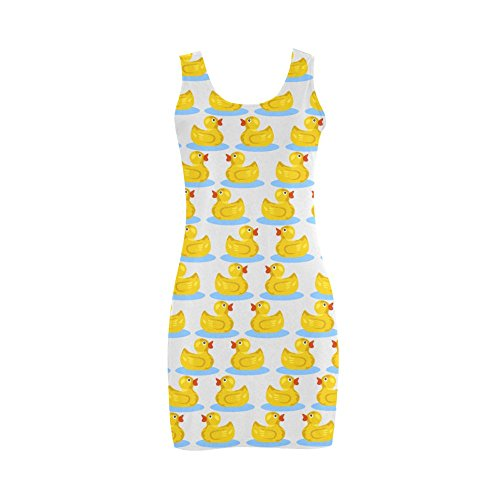 Women's Kawaii Cute Rubber Ducky Polyester Satin Finish Vest Dress