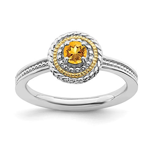 14k Yellow Citrine Band Ring Size 9.00 Stone Stackable Gemstone Birthstone November Fine Jewelry For Women Gift Set ()