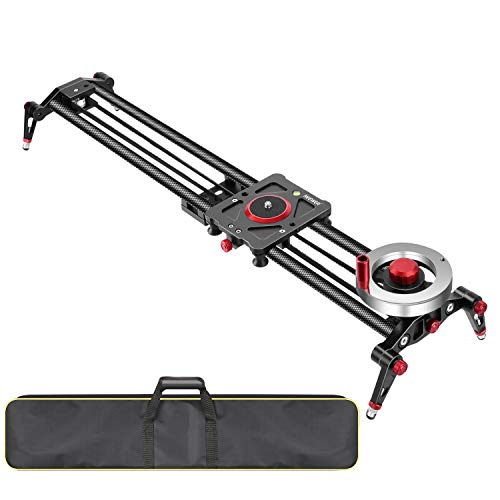 - Neewer Camera Slider Video Track Dolly Rail Stabilizer: 31-inch/80cm, Flywheel Counterweight with Light Carbon Fiber Rails, Adjustable Legs, Carry Bag, DSLR Camera Camcorder Track for Filming