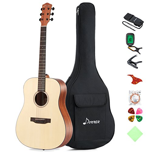"Donner DAG-1 Beginner Acoustic Guitar Full-size,41"" Dreadnought Spruce Guitar Package with Gig Bag Tuner Strap String"