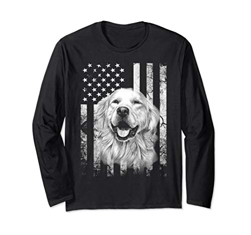 Golden Retriever 4th of July America Dog Flag Patriotic Long Sleeve T-Shirt
