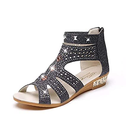 e0c1c4fb2 Image Unavailable. Image not available for. Color  Women Fashion Shoes  Spring Summer Ladies Wedge Sandals Female Casual ...