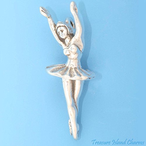Ballet Dancer Ballerina Dancing 3D .925 Solid Sterling Silver Charm Pendant Ideal Gifts, Pendant, Charms, DIY Crafting, Gift Set from Heart by Wholesale Charms