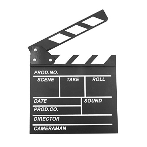 Binwwede Clapboard Wooden Director's Film Movie Cut Action Scene Slateboard Clapper Board Black (Movie Scene Board)