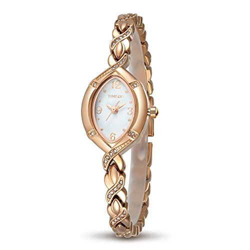 Time100 Women's Watches Bracelet Diamond Oval Dial Ladies Fashion Dress Quartz Wrist Watch ()