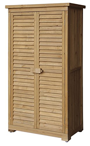 Merax Wooden Garden Shed Wooden Lockers with Fir wood (Natural wood color –Shutter design) (Outdoor Wood Storage Cabinet)