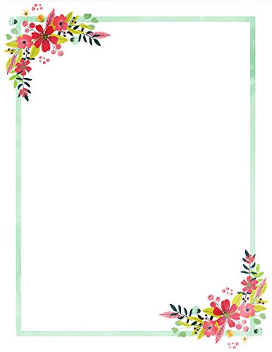 Floral Stationery (100 Stationery Writing Paper, with Cute Floral Designs Perfect for Notes or Letter Writing - Red Hibiscus)
