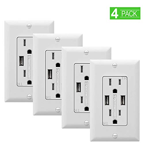 - SZICT USB Outlet Receptacle, 4 Pack UL-Listed 4.2A TR Ultra-Fast USB Charging Receptacle 2 USB Ports Receptacle Charger, 15A Wall Receptacle Outlet with Wall Plate, White