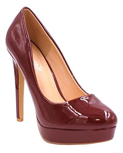 CRAZY Leather Dressy High SHU Faux Ladies Party Patent Evening Heel Shoes D40 Slip Pumps Purple Womens Platform On Court CXwqOOd