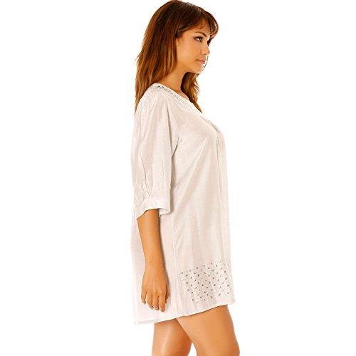 Miss Wear Line - Robe grise courte,manche trois quarts, large à strass encolure et bas de robe