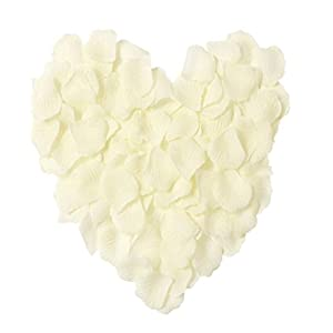 MXXGMYJ 1000pcs Ivory Rose Petals White Rose Wedding Bouquets Fake Rose Petals Dried Rose Wedding Bouquet Artificial Flowers Wedding Party Decoration Table Confetti 24
