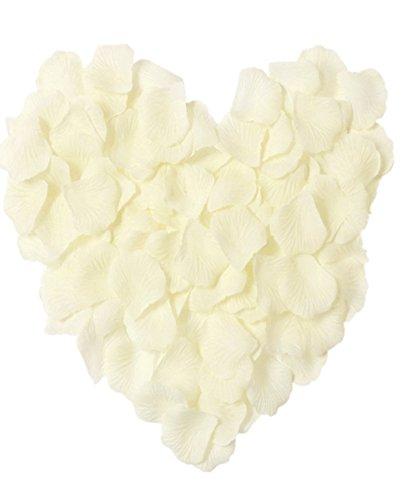MXXGMYJ 1000pcs Ivory Rose Petals White Rose Wedding Bouquets Fake Rose Petals Dried Rose Wedding Bouquet Artificial Flowers Wedding Party Decoration Table Confetti ()