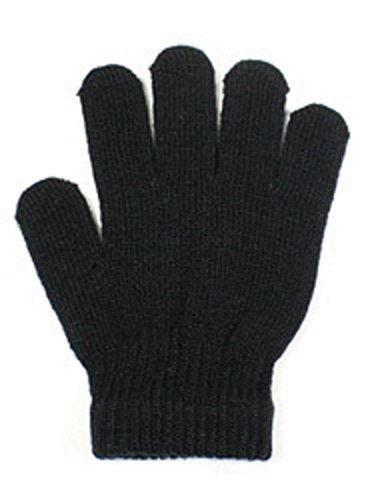 Stretchy Warm Kids Winter Knit Magic Gloves One Size Fits Most Extra Small to Large (Black)
