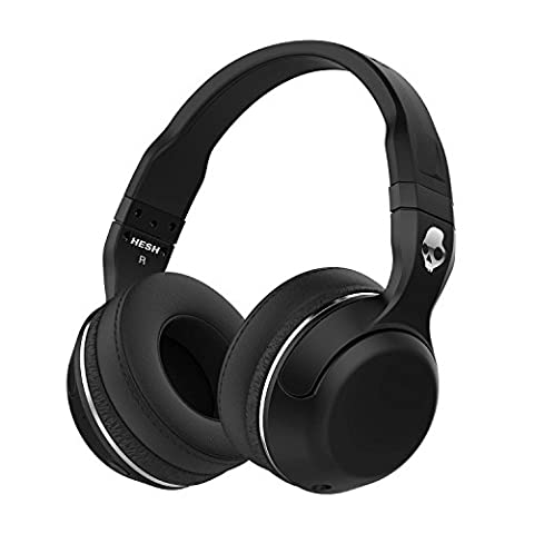 Skullcandy Hesh 2 Bluetooth Wireless Headphones with Mic, Black (Over Ear Headphones Blue Tooth)