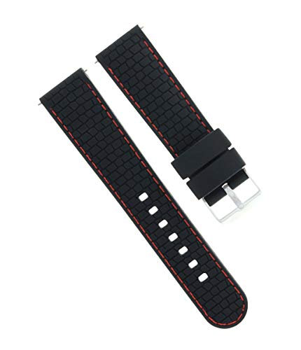 Ewatchparts 22MM Rubber Diver Band Strap for Croton Black RED Stitch 3R