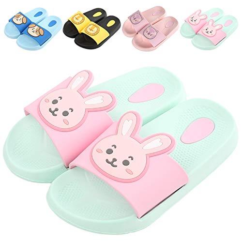 Kids Summer Lightweight Slide Sandals,Cute Animal House Slippers,Boys Girls Non-Slip Slides Sandals Water Shoes for Beach,Pool (11.5M US Little Kid, Rabbit) -