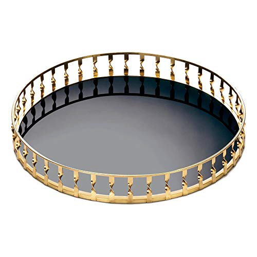 Aspen Tree Round Glass Tray Black Glass Metal Vanity Trays   Bar Trays for Liquor Display   Organizer Decorative Vanity Trays   Home Table Top Modern Accent