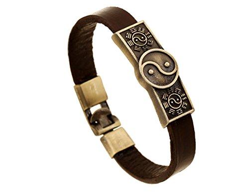 [Konalla Vintage Leather Bangle Simple Tai Chi Bracelet For Mens, 8