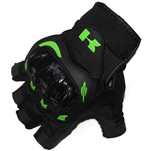 Lwj Half Finger Motorcycle Gloves Motocross Green Color Protective Gears Racing Summer Glove for Men Women (Color : Black, Size : M)